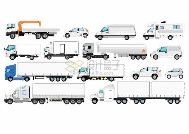 各种白色吊车轿车面包车卡车房车汽车侧视图747378png图片素材