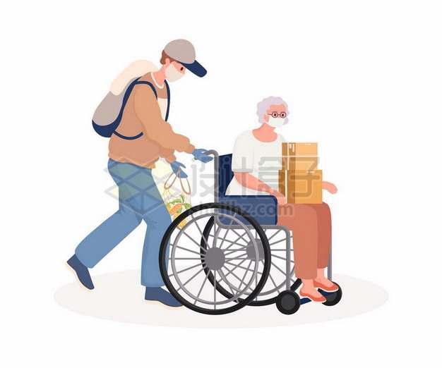 卡通男人推着轮椅上的老人尊老爱幼721852png图片素材