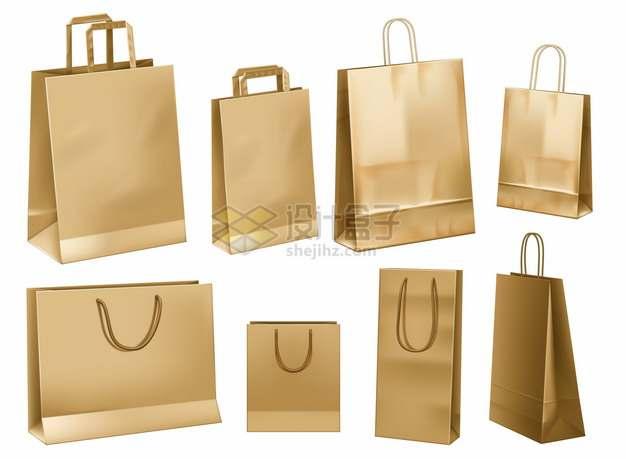 8款棕色手提袋纸袋子购物袋713954png图片素材