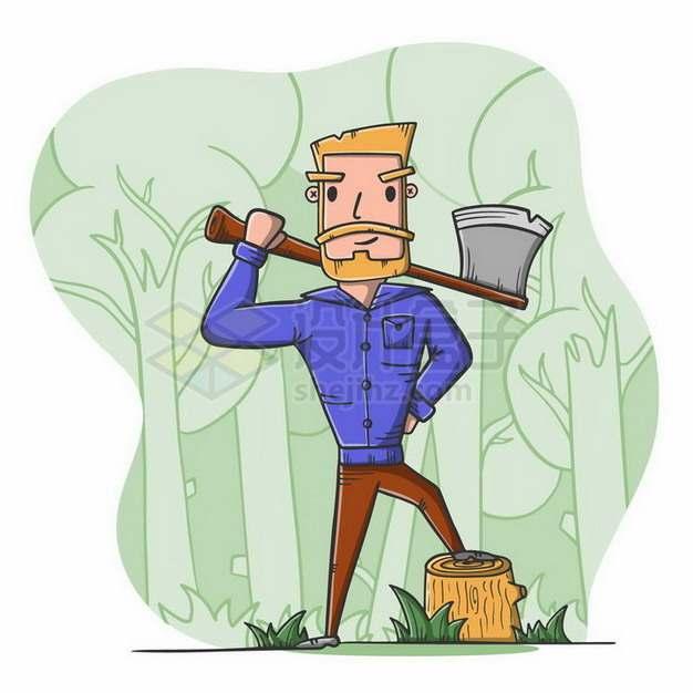 扛着斧头的卡通伐木工人png图片免抠矢量素材