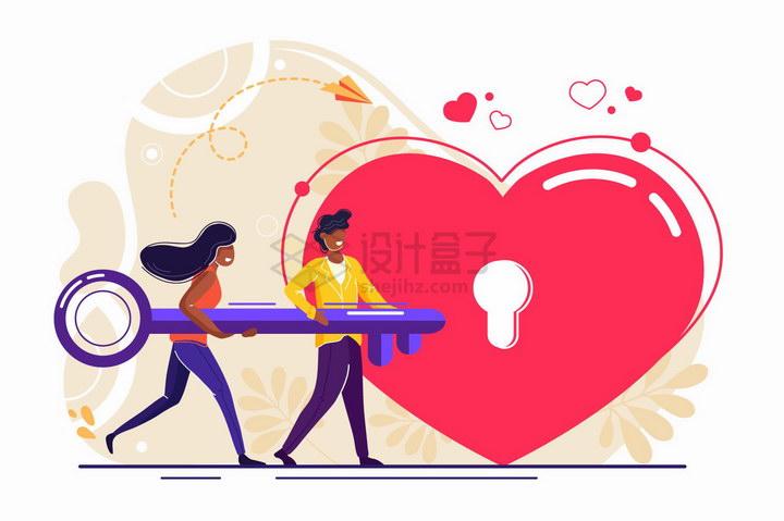 卡通情侣共同拿着一把钥匙打开一个红心锁象征了爱情扁平插画png图片免抠矢量素材 节日素材-第1张
