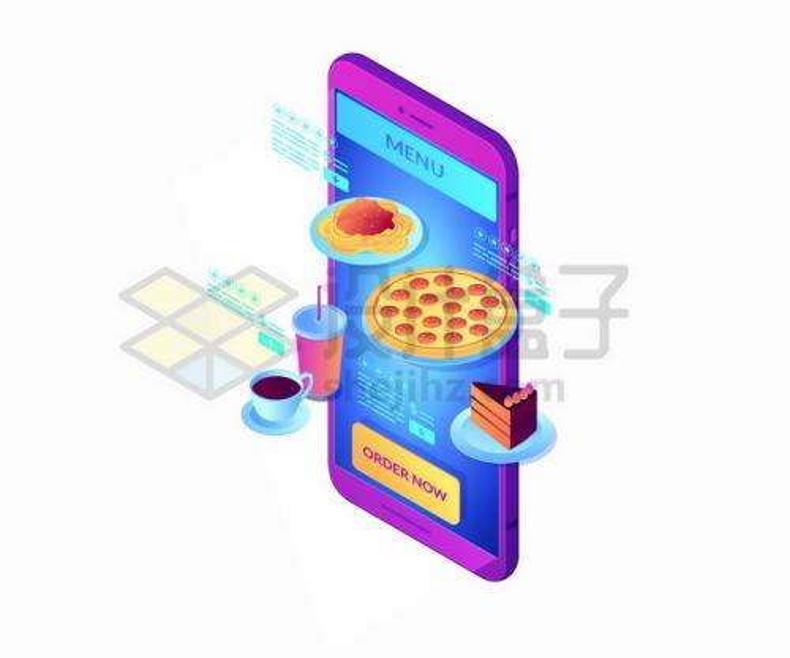 2.5D风格智能手机上的外卖订餐png图片免抠矢量素材