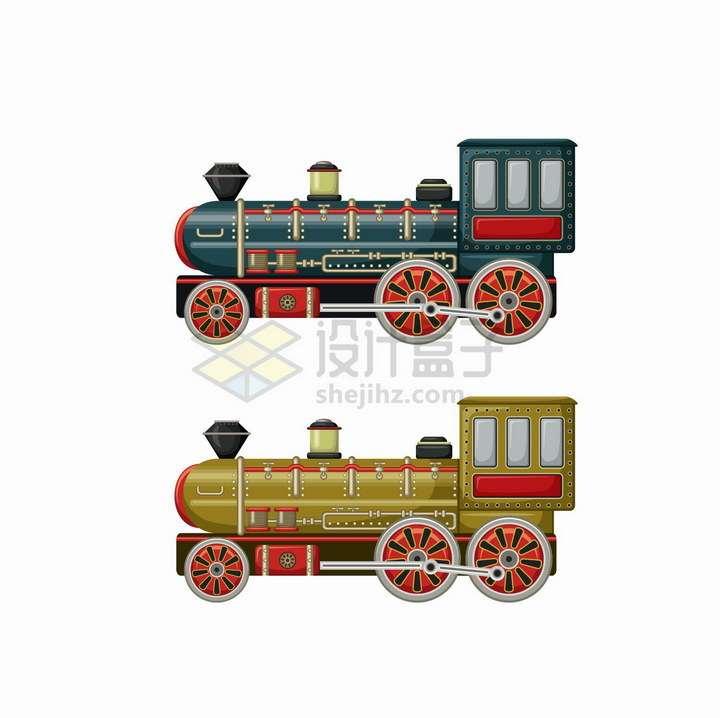 两款复古老式蒸汽火车头侧面图png图片免抠矢量素材