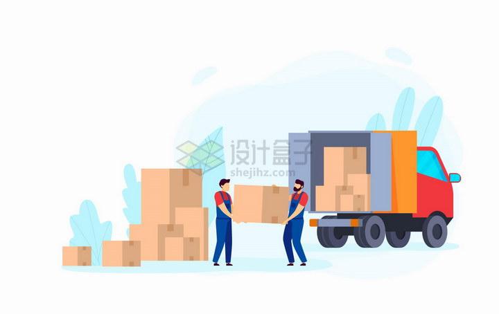 往卡车上搬运货物的工人扁平插画png图片免抠矢量素材 交通运输-第1张