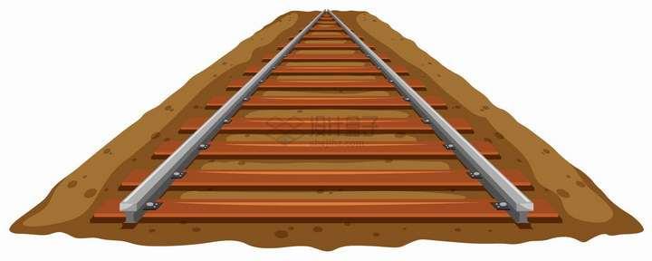 地面上通向远方的铁轨火车轨道png图片免抠eps矢量素材