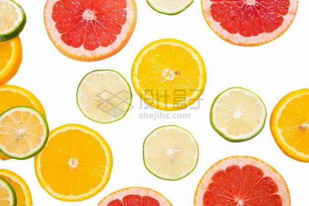 切片的柚子橙子和柠檬png免抠图片素材