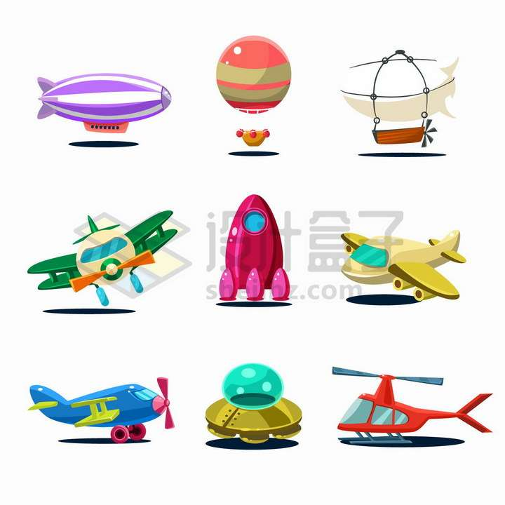 9款卡通风格飞艇热气球飞机火箭飞碟直升机等png图片免抠矢量素材