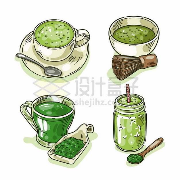 4款手绘绿茶抹茶饮料912433png图片素材