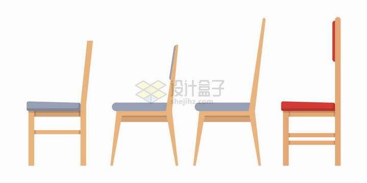 4款扁平化风格的木头椅子侧视图png图片免抠矢量素材