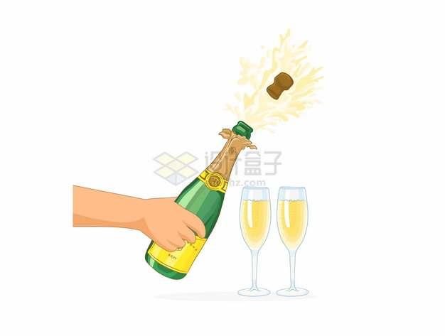 打开香槟酒庆祝622822png图片素材