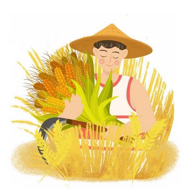 芒种卡通农民用镰刀收割麦子小麦插画png免抠图片素材