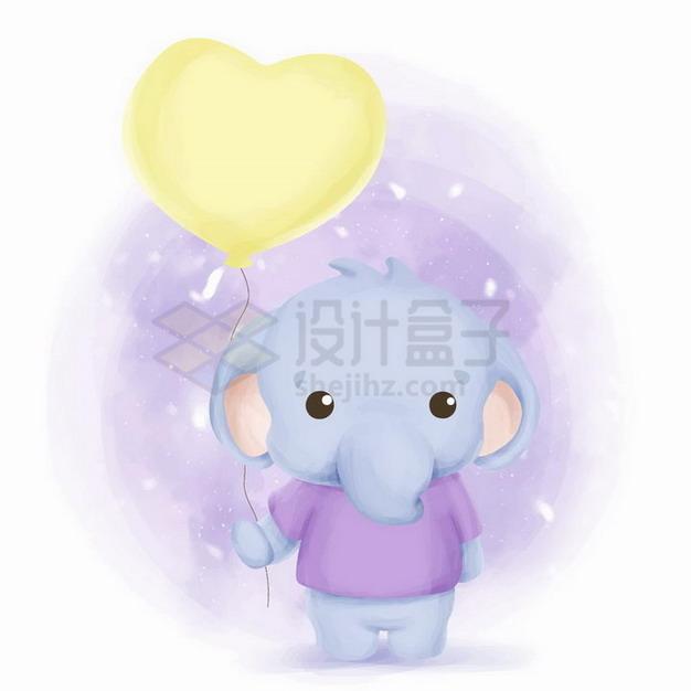 超可爱卡通小象拿着黄色心形气球png图片免抠矢量素材 生物自然-第1张