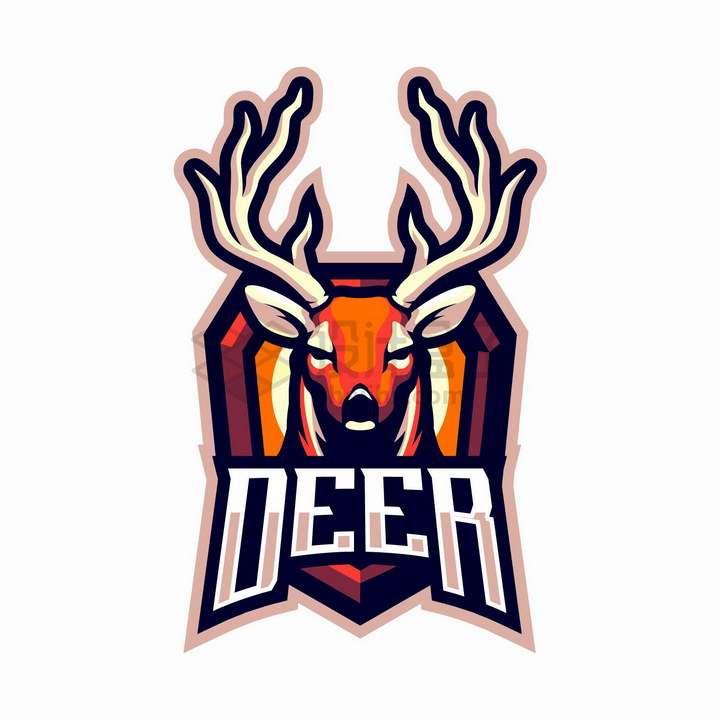 橙色的驯鹿游戏公司logo设计png图片免抠矢量素材