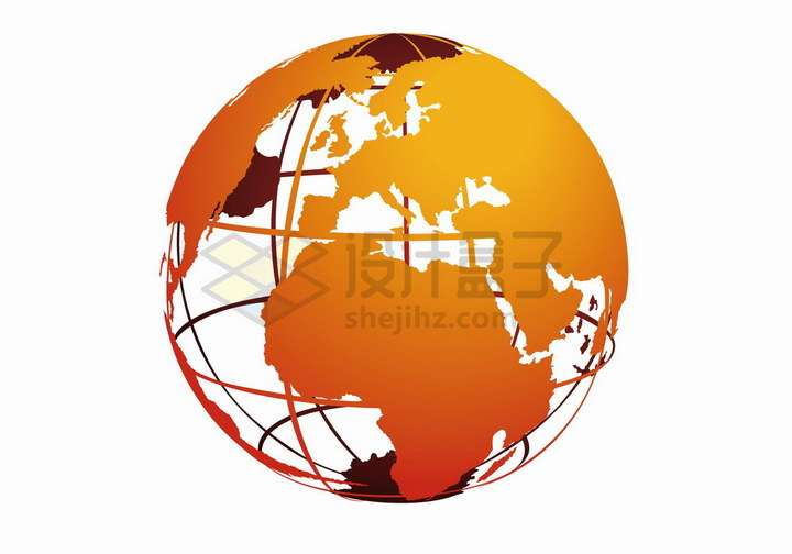 带经纬线的橙色空心地球仪png图片免抠矢量素材
