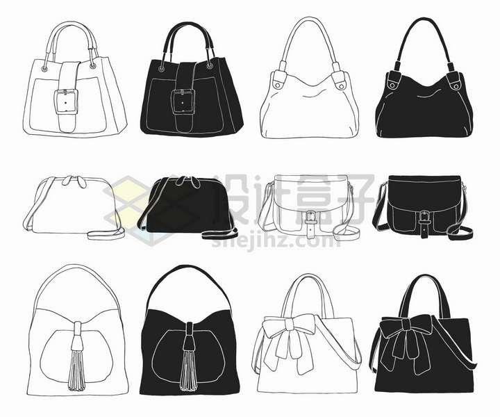 手绘素描风格6款黑白色女包手提包时尚包包png图片免抠矢量素材