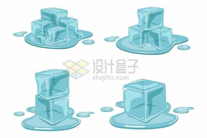 4款正在融化成水的蓝色冰块png图片免抠矢量素材