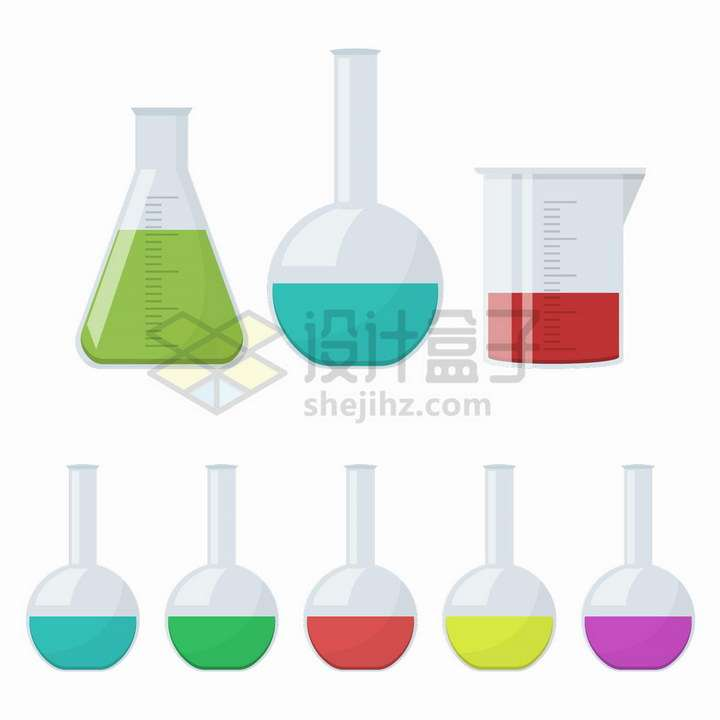 各种扁平插画风格的烧瓶烧杯锥形瓶等化学实验仪器png图片免抠矢量素材