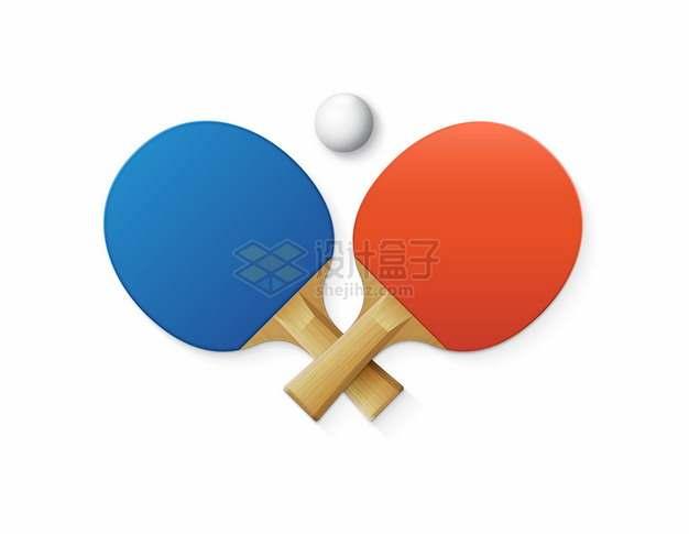 交叉的蓝色红色乒乓球拍788768png图片素材