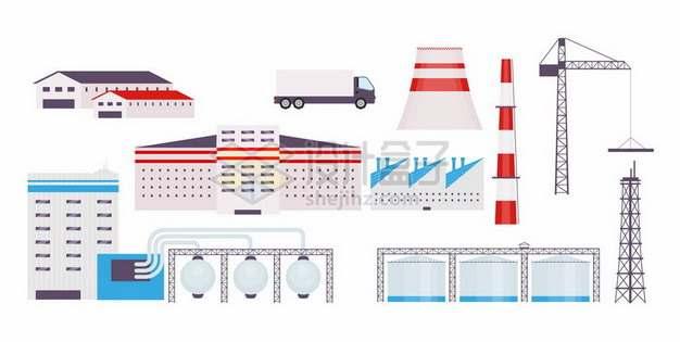 扁平化风格工厂厂房烟囱塔吊等png图片素材
