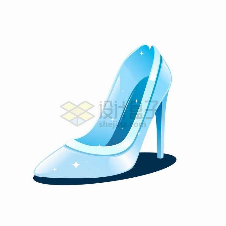 蓝色闪光卡通水晶鞋png图片免抠矢量素材