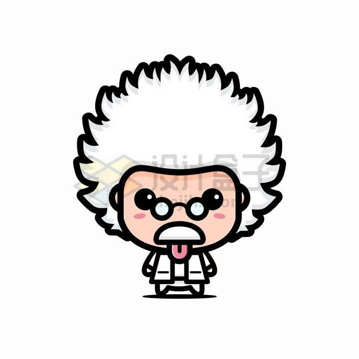 超可爱大头白头发的卡通老教授老科学家老博士png图片免抠矢量素材