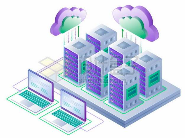 2.5D风格云服务器云计算技术和笔记本电脑207641 png图片素材