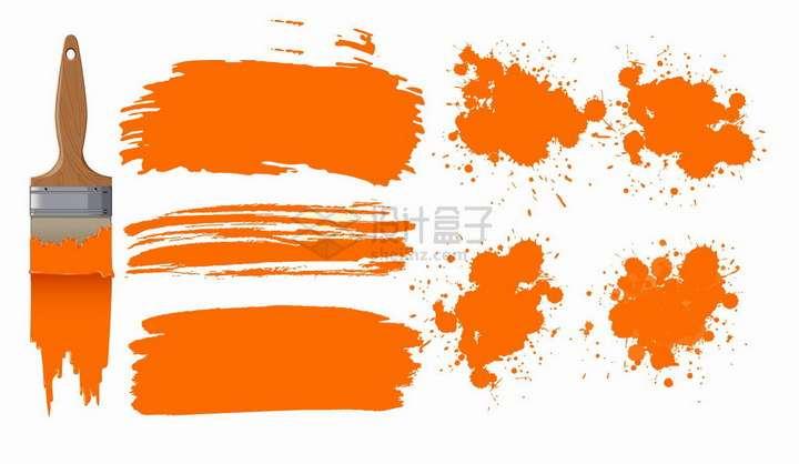 装修刷子和橙色的油漆涂鸦png图片免抠矢量素材