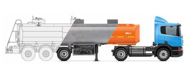 槽罐车油罐车危险品运输卡车分解图972568png图片素材