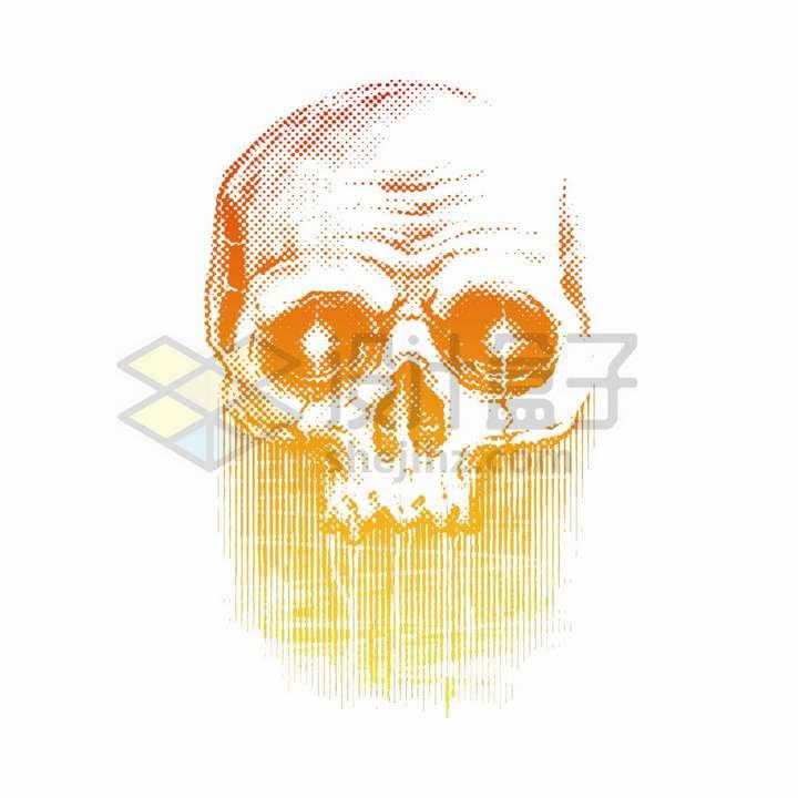 橙色复古风格点阵状的骷髅头png图片免抠矢量素材