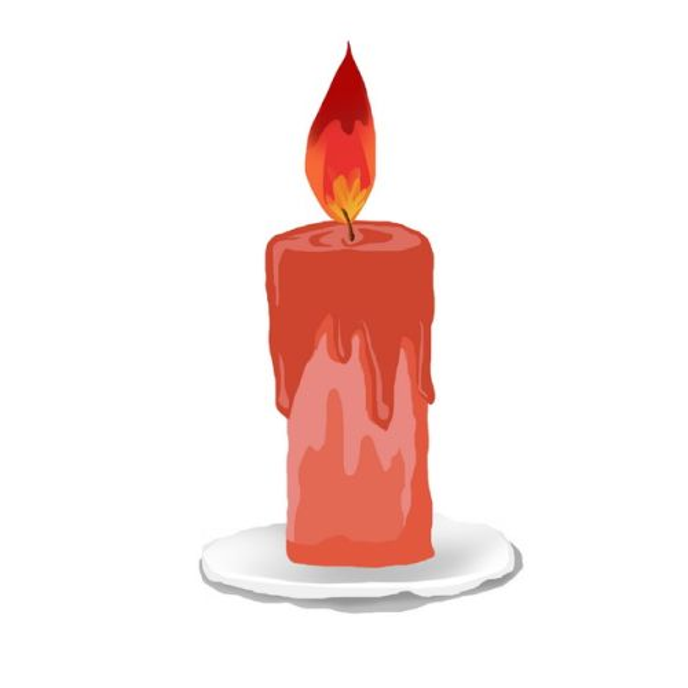 烛台上燃烧的红色蜡烛彩绘风格9615311png图片素材