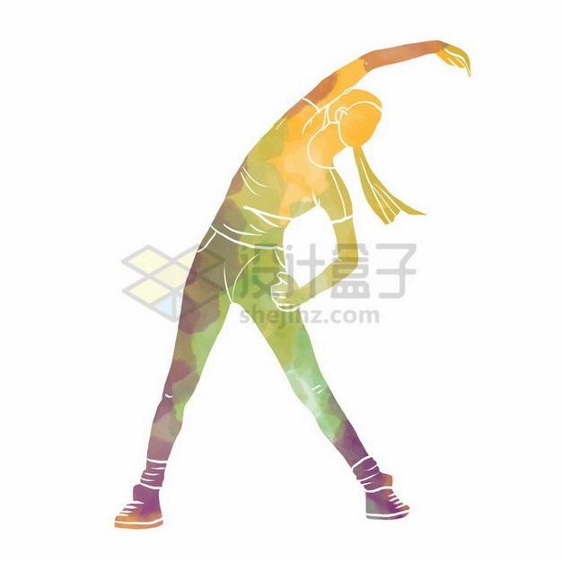 做拉伸动作的女孩彩色涂鸦254395png免抠图片素材 人物素材-第1张
