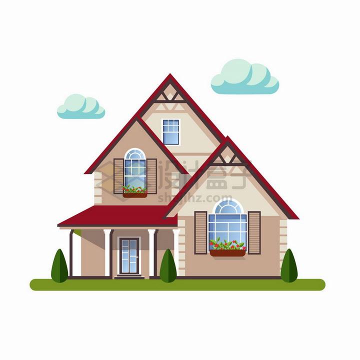 斜屋顶的三层小别墅扁平化房子png图片免抠矢量素材 建筑装修-第1张