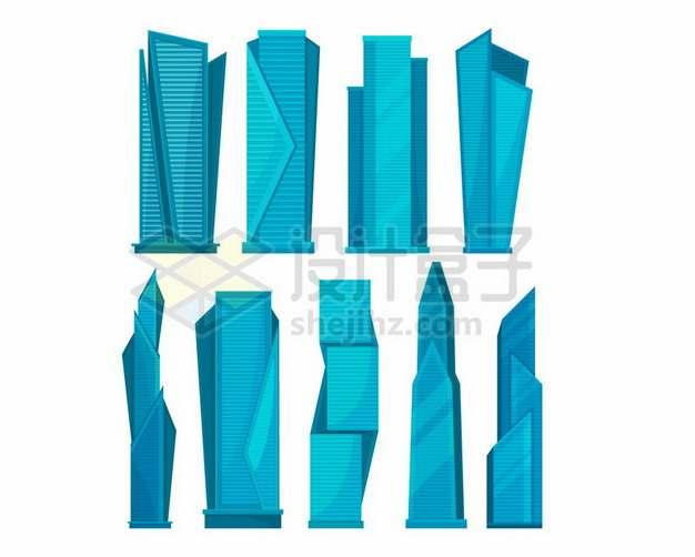 9款蓝色的卡通高楼大厦建筑765028 png图片素材