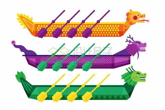 三种颜色的赛龙舟侧视图328847png图片素材