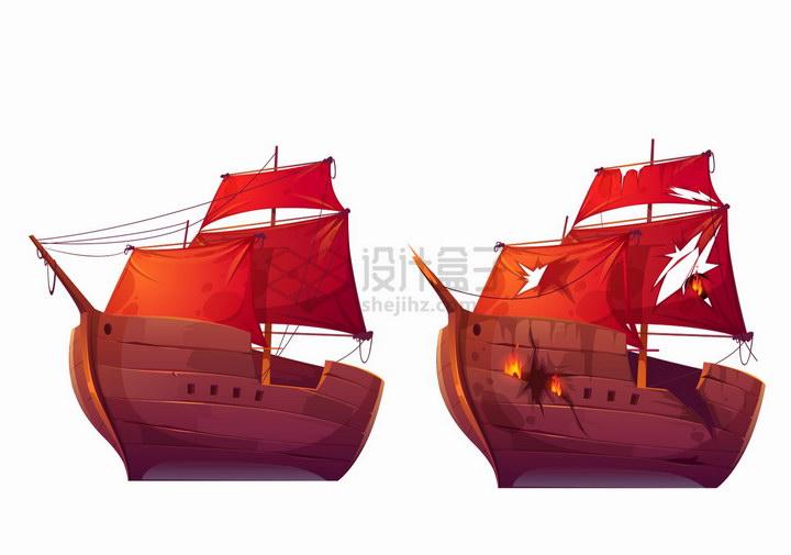 两艘卡通复古帆船一艘损坏了png图片免抠eps矢量素材 交通运输-第1张