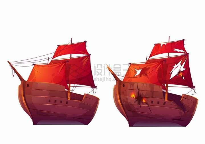 两艘卡通复古帆船一艘损坏了png图片免抠eps矢量素材