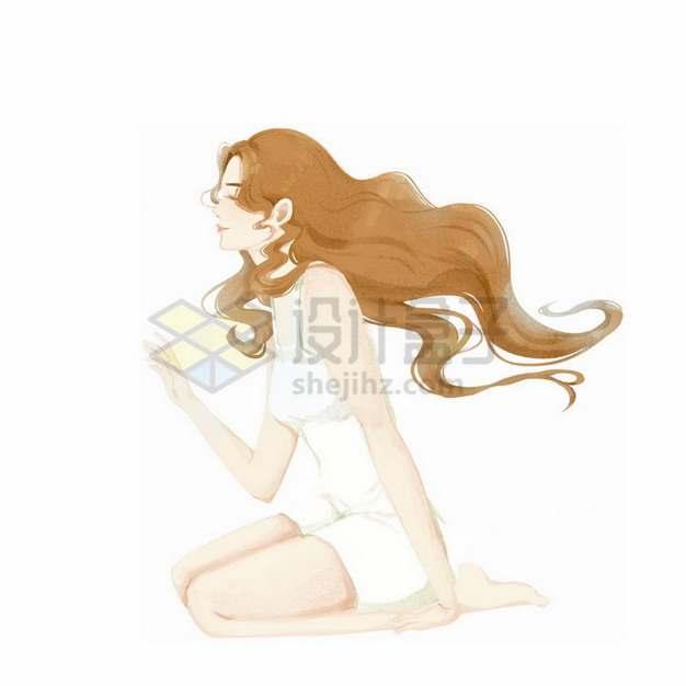 跪坐在地上的长发美女彩绘插画654822png免抠图片素材