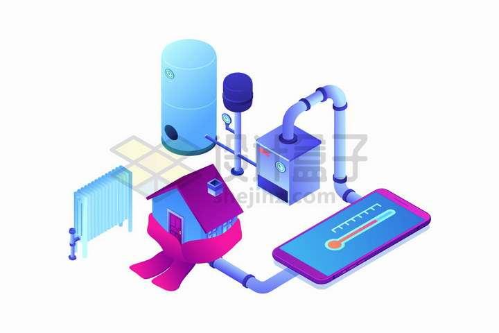 2.5D风格房屋暖气系统加热系统结构图png图片免抠矢量素材