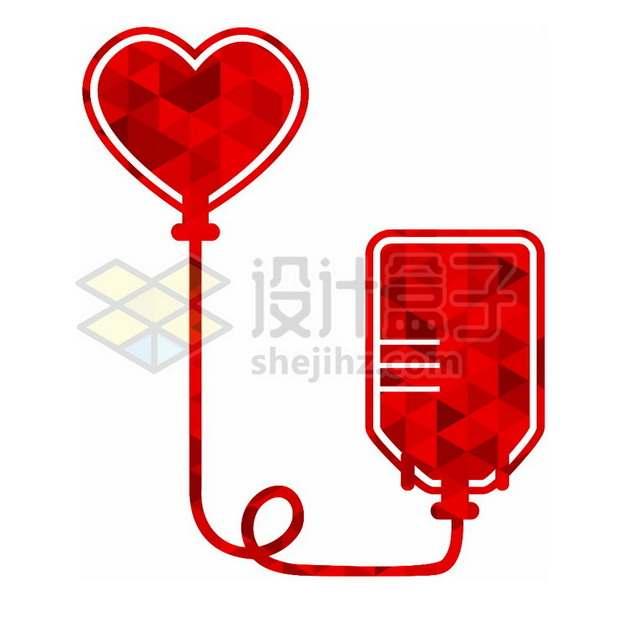 多边形组成的血袋输血无偿献血png图片素材