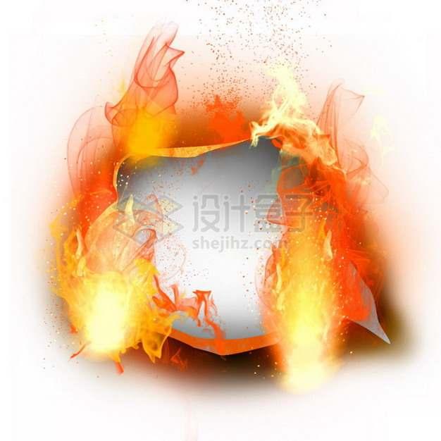 燃烧着火焰的纸张特效果4836292png图片素材