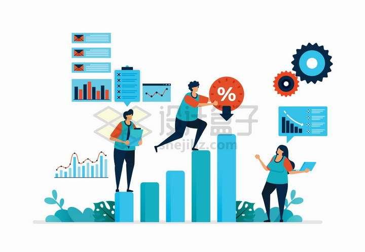 扁平插画风格投资数据增长和潜在资金风险png图片免抠矢量素材