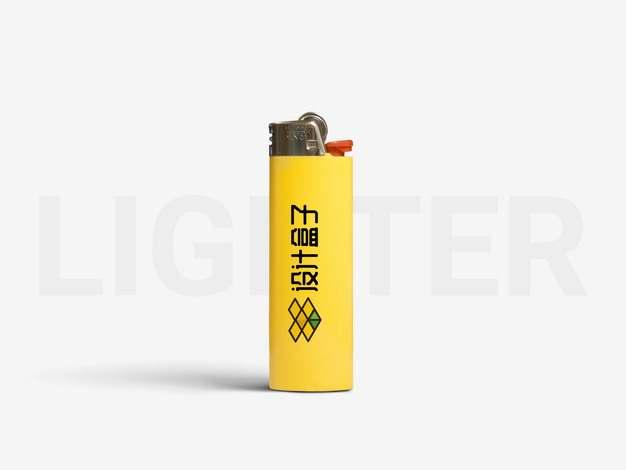 黄色打火机psd样机图片模板素材