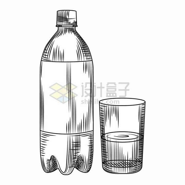 大瓶装可口可乐和杯子手绘线条素描png图片免抠矢量素材