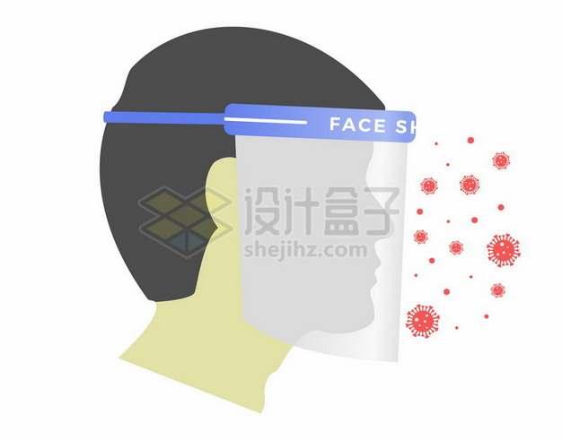 戴透明面罩预防新型冠状病毒和感冒病毒109064png图片素材