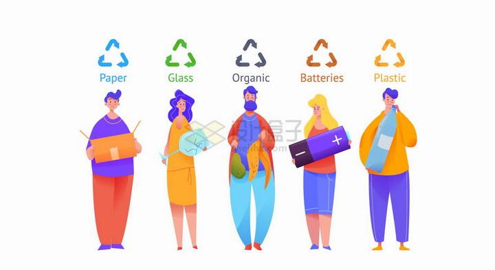 垃圾分类的人群彩绘插图png图片免抠矢量素材