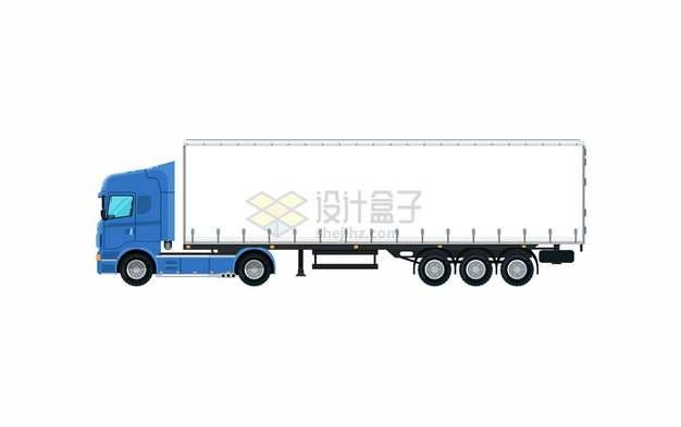 蓝色卡车头半挂车厢侧视图815596png图片素材