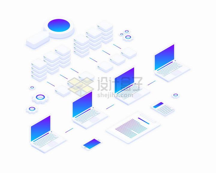 白色的笔记本电脑和云计算服务器组成的系统png图片免抠矢量素材 IT科技-第1张