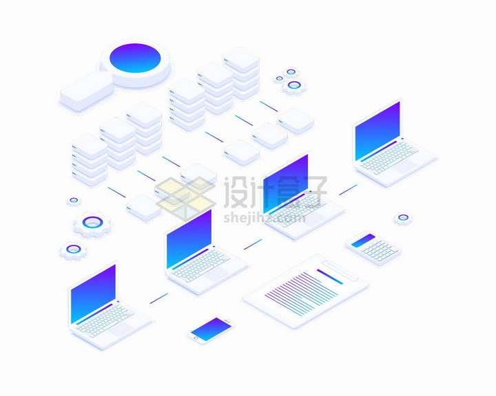 白色的笔记本电脑和云计算服务器组成的系统png图片免抠矢量素材