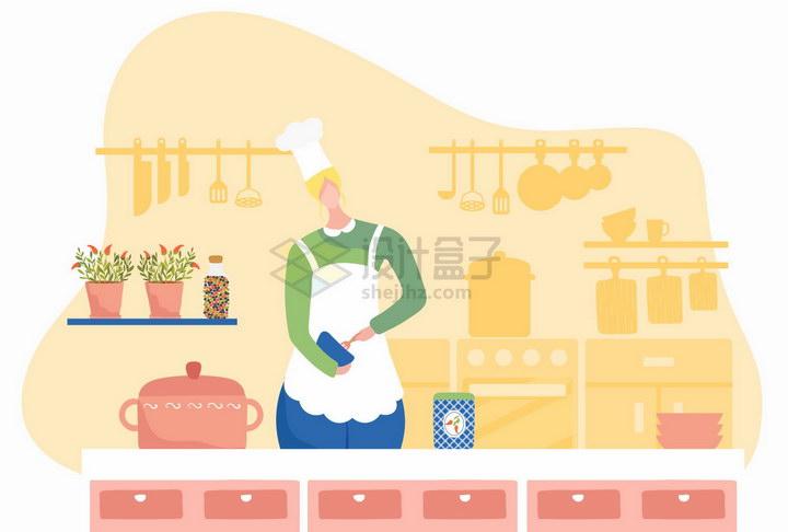 厨师正在厨房里做菜扁平插画png图片免抠矢量素材