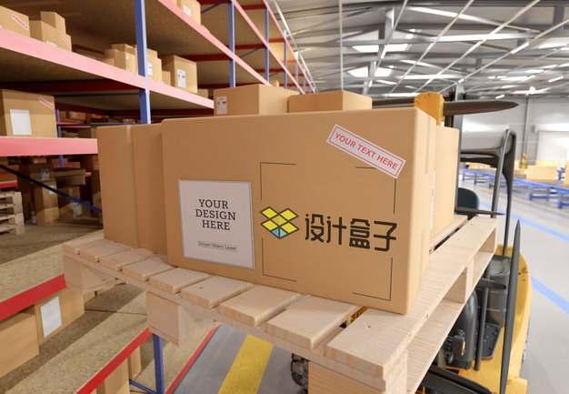 仓库中木制托盘上杂乱放置的纸箱子快递纸盒子psd样机图片模板素材4343687